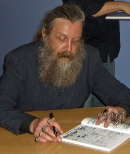 The beard often sleeps through interviews and book signings.