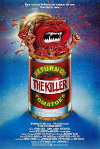A poster for the movie 'Return Of The Killer Tomatoes' - a bleak, dystopian GMO thriller.